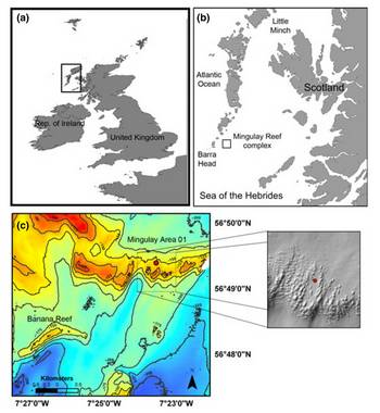 Maps of the study site location (a) shown in relation to UK (b) off the coast of Scotland (c) bathymetric map of the Mingulay