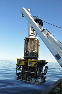 The ROV about to descend to the depths of the North Atlantic. Photo courtesy of Nigel Lyman